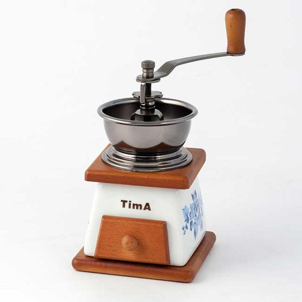 Tima Кофемолка керамическая ручная (дерево/гжель)