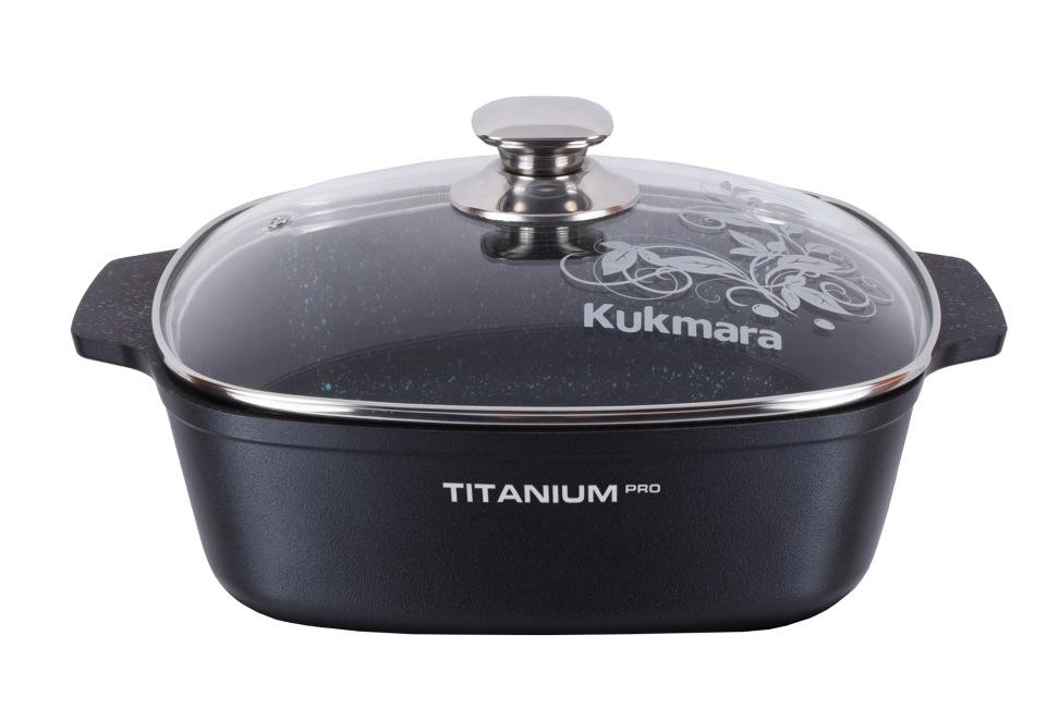 Кастрюля-жаровня а/пр литая 4,0л квадрат стекл/кр Titanium pro
