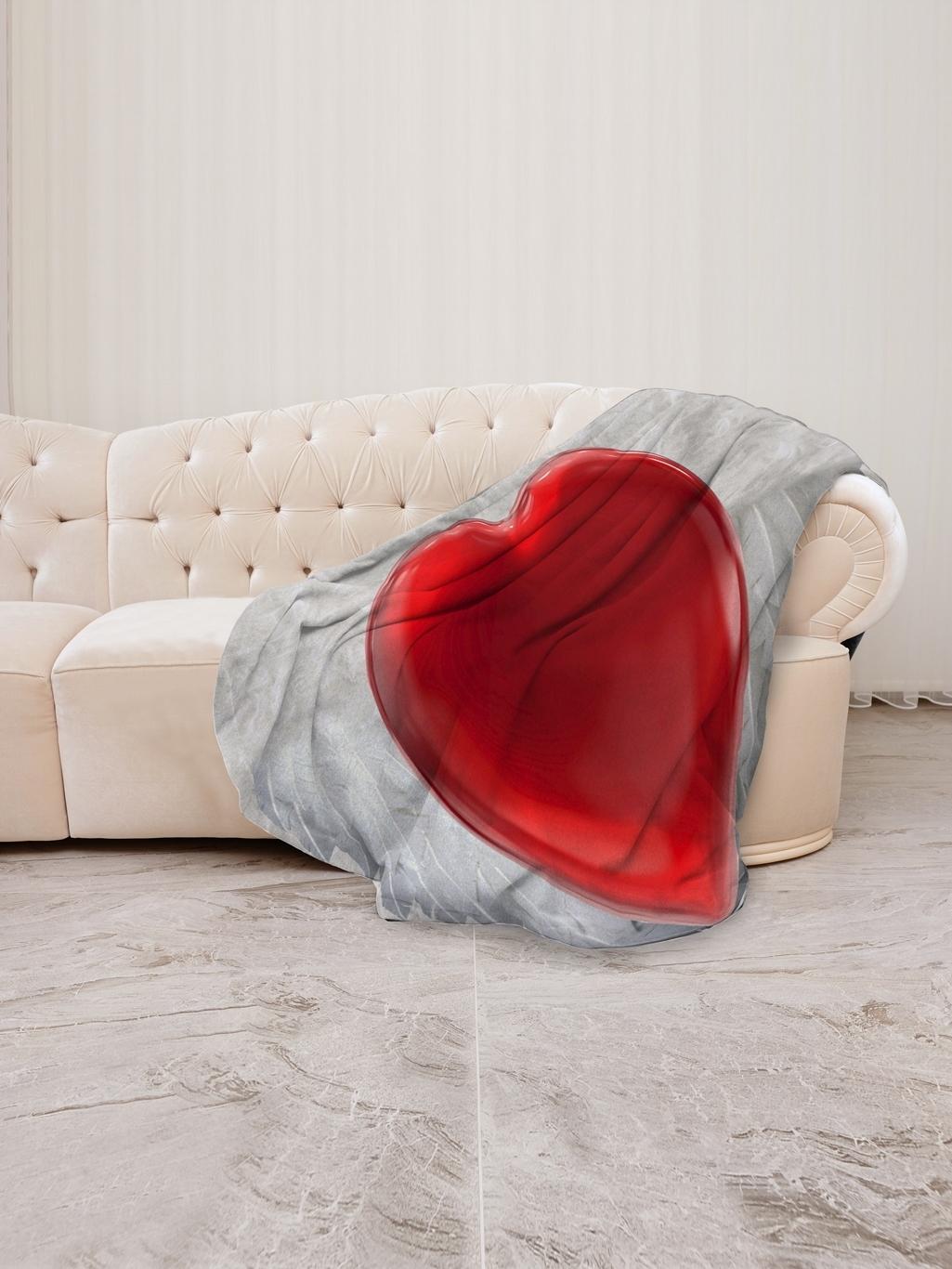 Плед флис 145х200 В форме сердца