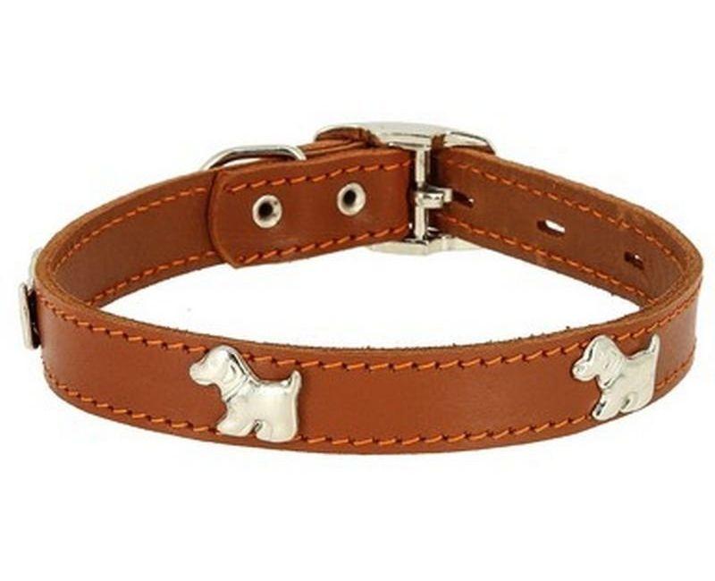 Ошейник Каскад Флер кожаный с украшением Щенок светло-коричневый для собак 25ммх39-46см