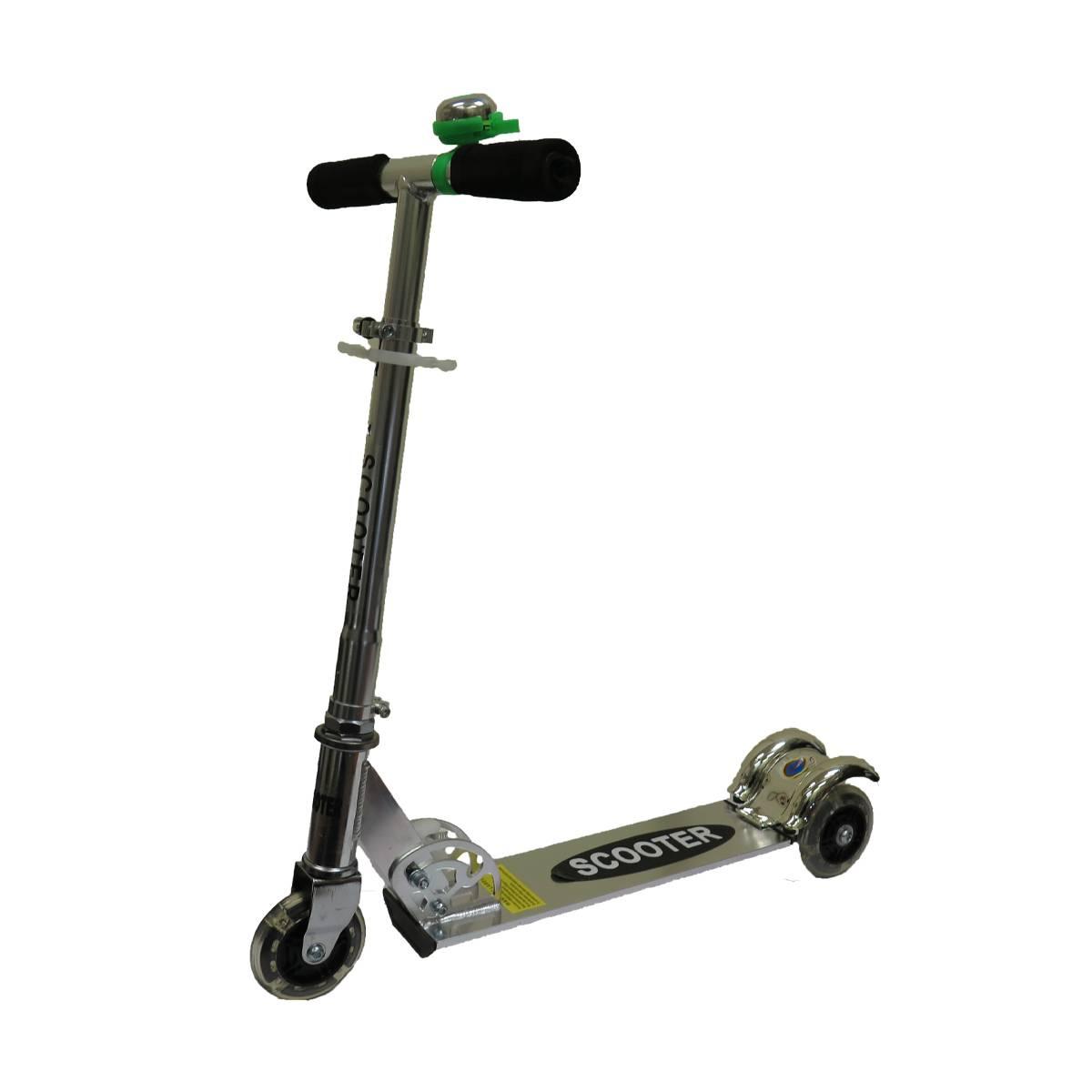 Самокат Scooter 3-х колесный,серебристый