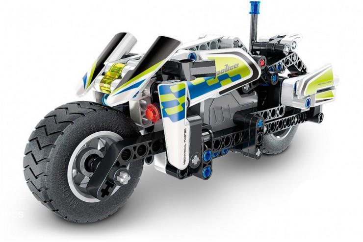 Конструктор инерционный QiHui Полицейский мотоцикл, 193 детали QH5806