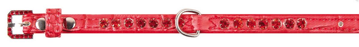 Ошейник для собак DEZZIE, искусственная кожа, красный со стразами, S, 1 х 23-28см