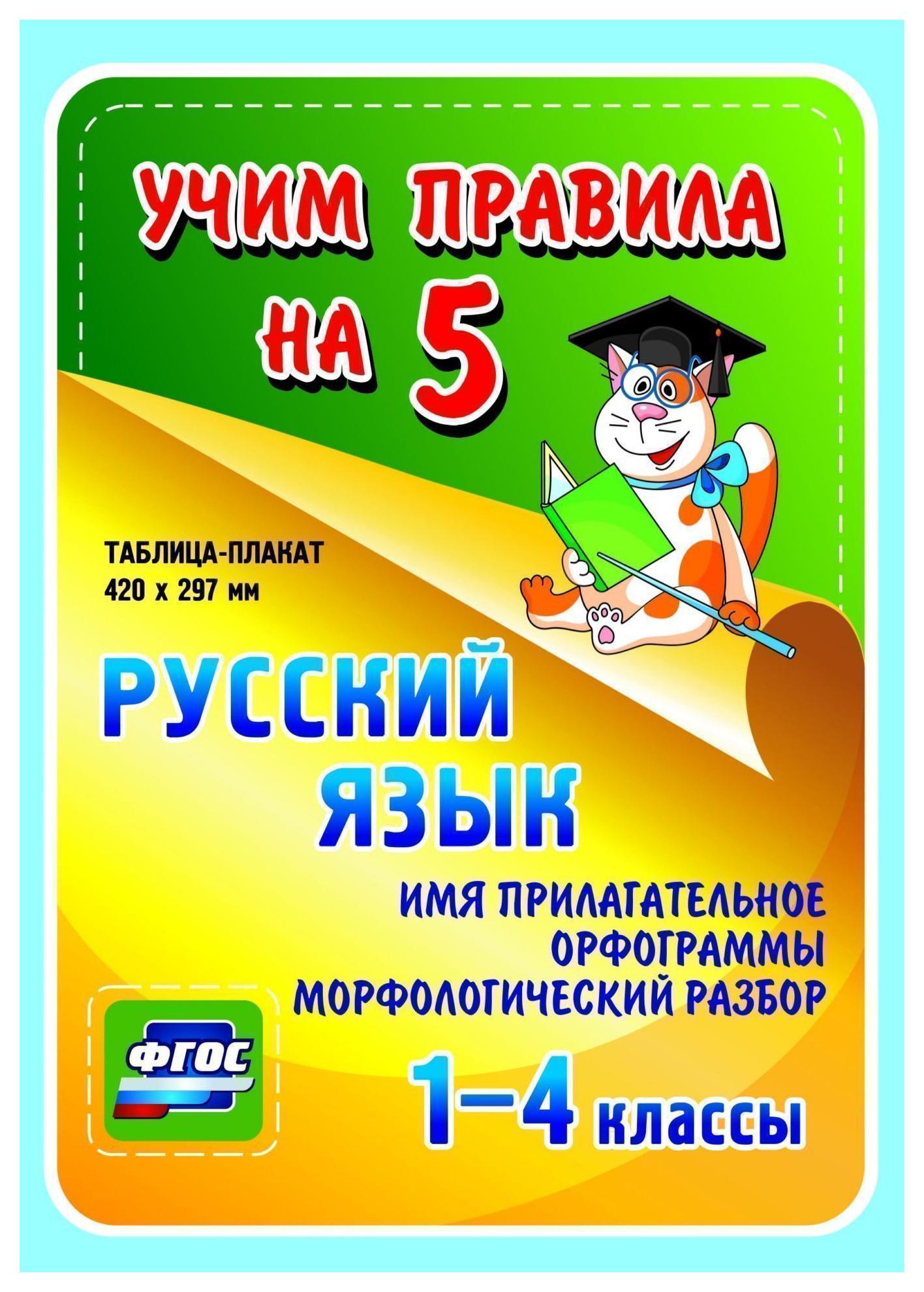 Русский язык. Глагол. Орфограммы. Морфологический разбор. 1-4 кл.: Таблица-плакат 420х297