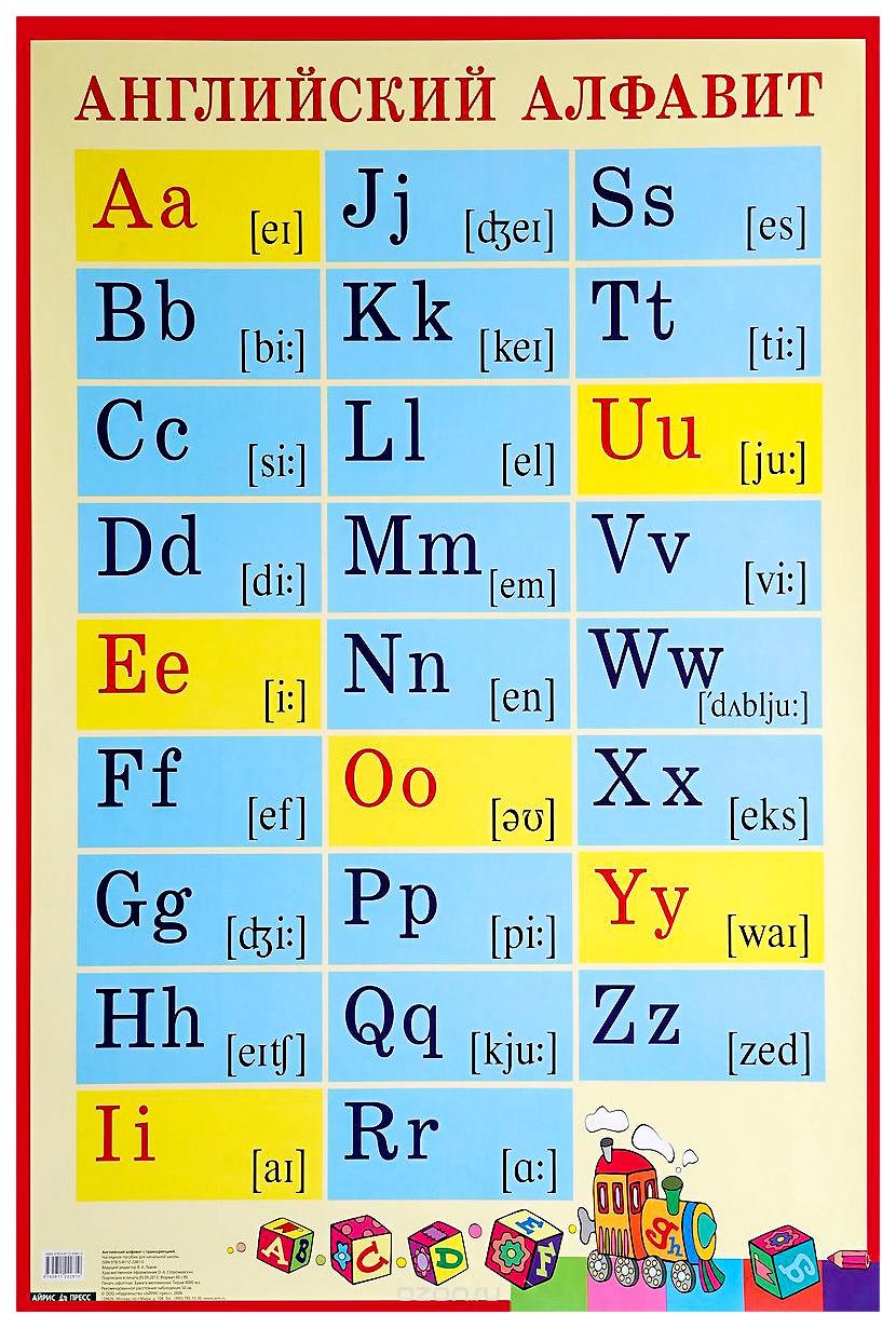 Плакат Антошин М. Айрис-Пресс Английский Алфавит С транскрипцией для Школы