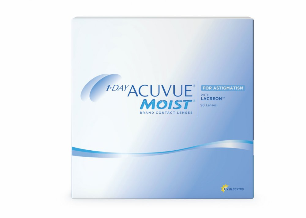 Контактные линзы 1-Day Acuvue Moist for Astigmatism 90 линз -2,50/-2,25/20