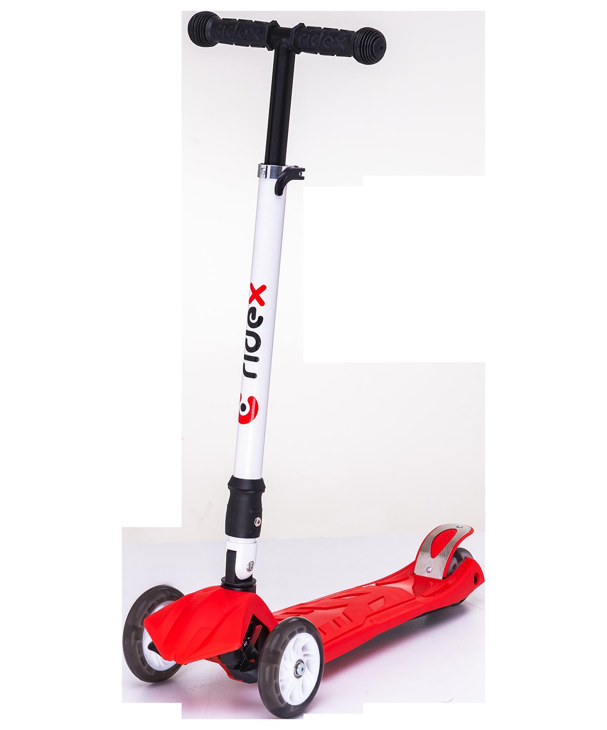Трёхколёсный самокат Ridex Smart 3D детский красный складной со светящимися колёсами