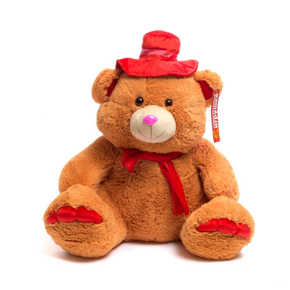Купить Мягкая игрушка Мишка в шляпе средний 60 см Нижегородская игрушка См-384-5, Мягкие игрушки животные