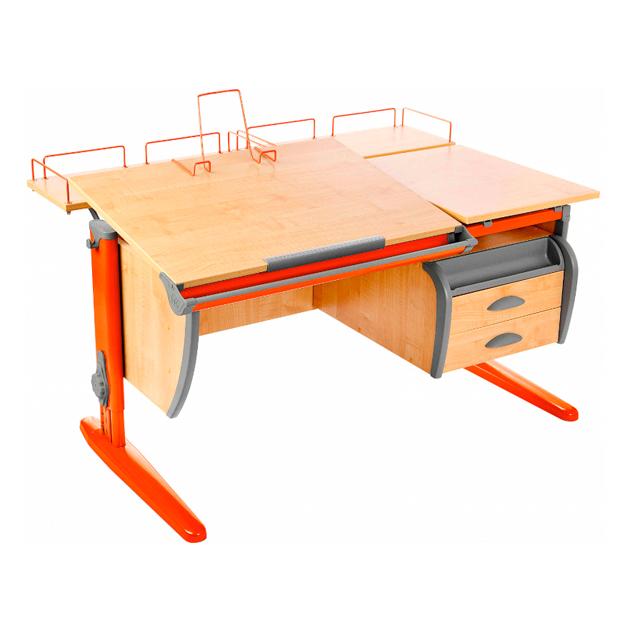 Парта ДЭМИ СУТ-17-04 120х80 см + тумба + 2 задних приставки клен, оранжевый,