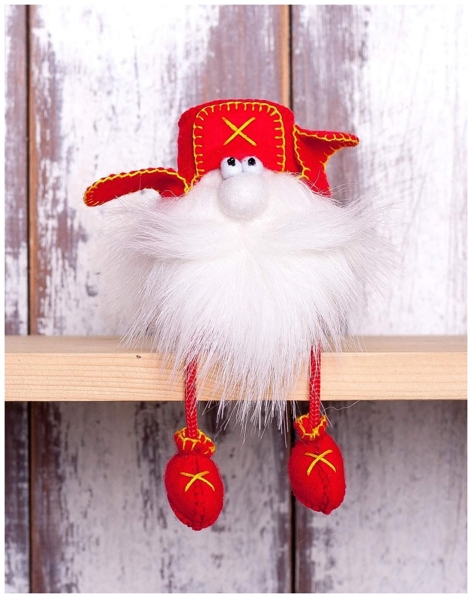 Купить Набор для создания текстильной игрушки из фетра Гном в ушанке, 15, 5 см, Перловка, Рукоделие
