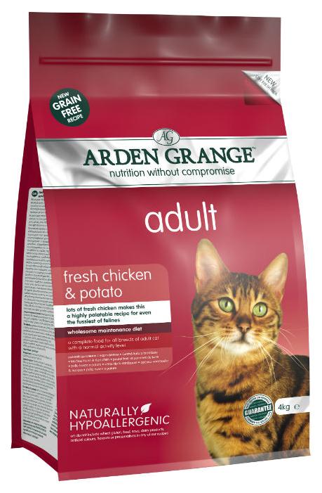 Сухой корм для кошек Arden Grange, беззерновой, курица, картофель, 4кг