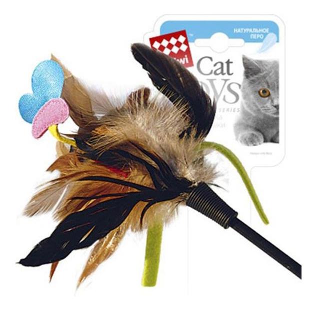 Дразнилка для кошек Gigwi, Пластик, Текстиль, Натуральные перья, 51 см фото