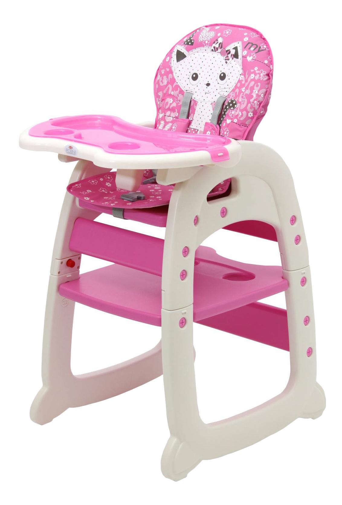 Купить Стульчик для кормления Тополь Polini 460 розовый, Стульчики для кормления
