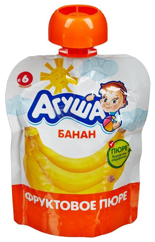 Купить Банан 90 г, Пюре фруктовое Агуша Банан с 6 мес 90 г, Детское пюре
