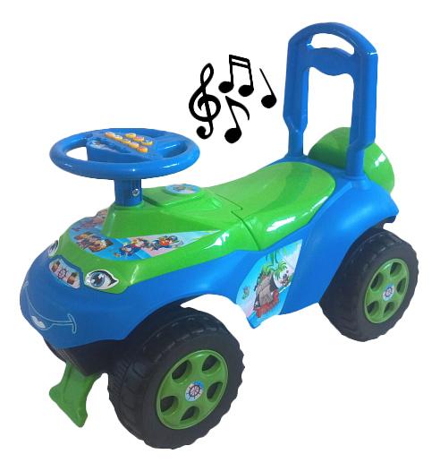 Купить Средняя, Каталка детская Doloni С музыкальным рулем голубой с зеленым, Машинки каталки