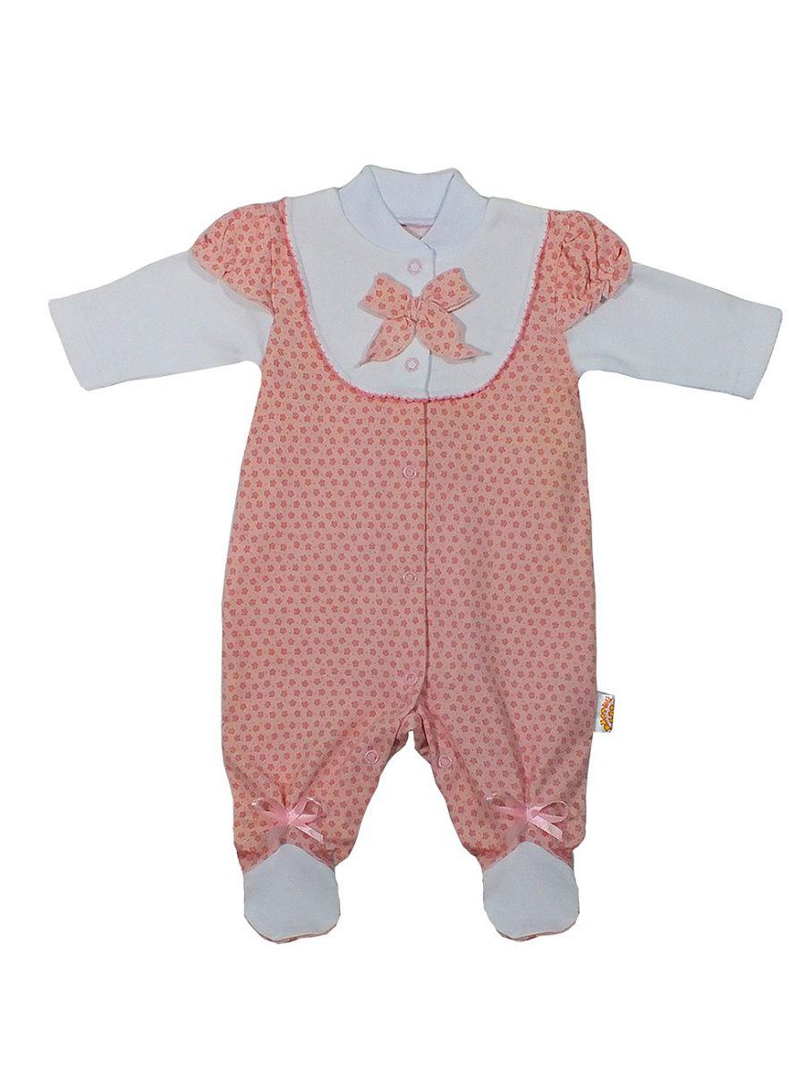 Купить 142и, Комбинезон Желтый кот Розовые цветы, размер 68, Трикотажные комбинезоны для новорожденных