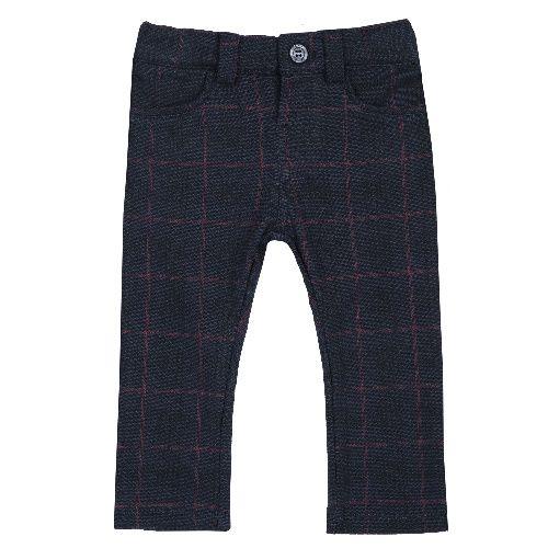 Купить 9008043, Брюки Chicco Крупная клетка для мальчиков р.92 цв.темно-синий, Детские брюки и шорты