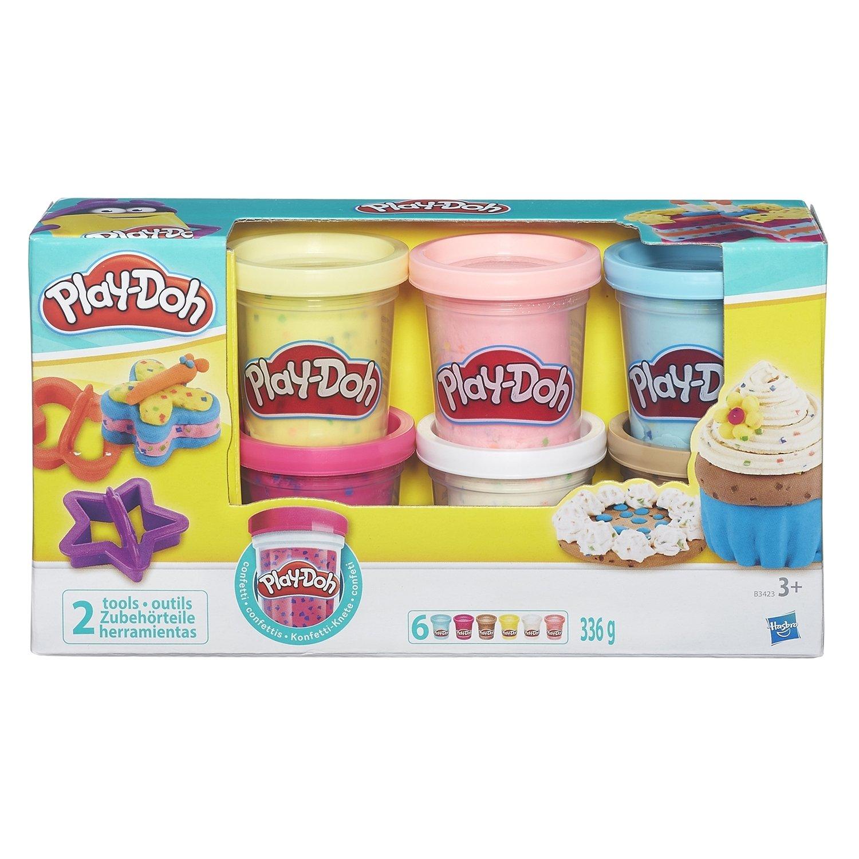 Купить PLAY-DOH. ПЛЭЙ-ДО Набор игровой 6 баночек с конфетти, Hasbro, Наборы для лепки Play-Doh