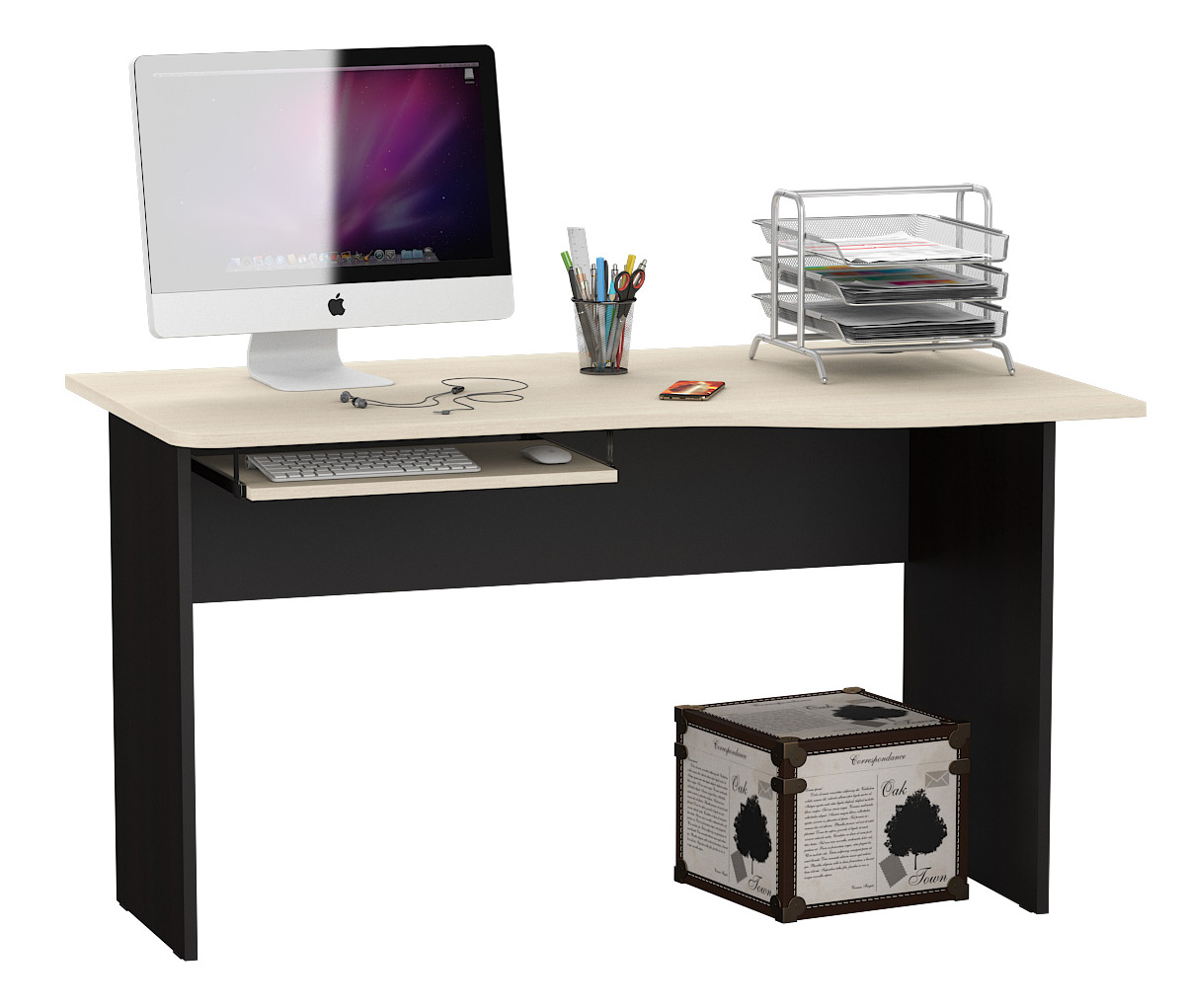 Компьютерный стол Мебельный Двор 1.04П МД 1.04П 130x75x74, венге/дуб