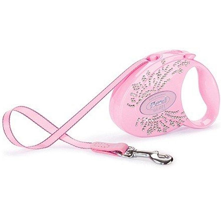 Поводок-рулетка Flexi Glam Wings S, лента, для мелких собак до 12 кг 3 м, Розовый