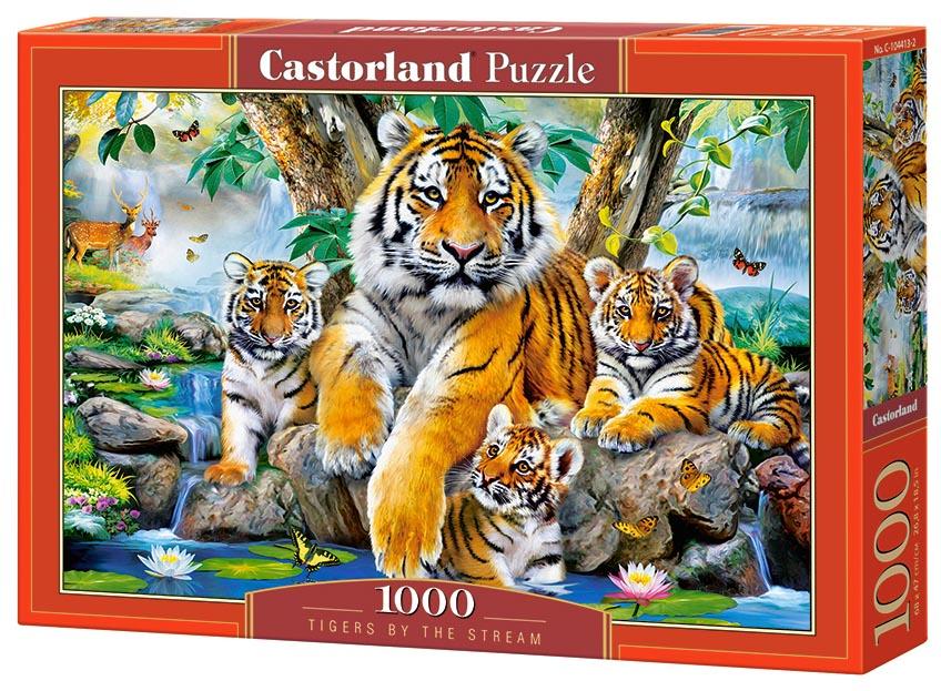 Пазл Castorland 1000 деталей Семья тигров у ручья C-104413