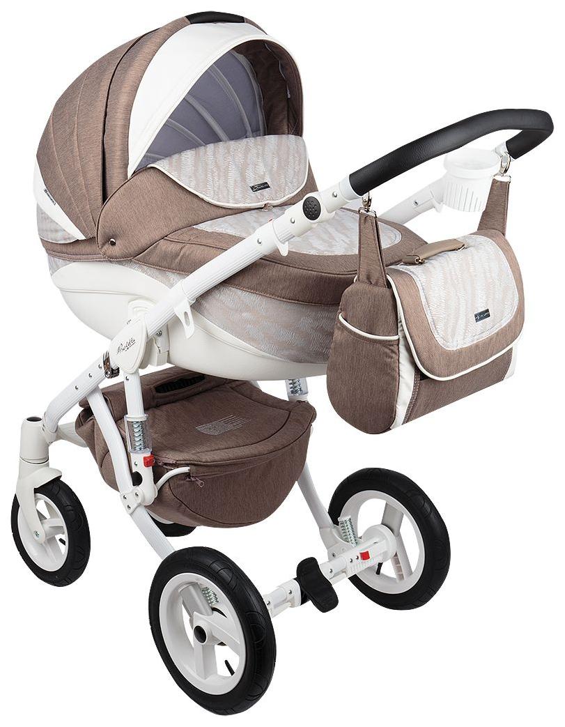 Купить Коляска 3 в 1 Adamex Barletta New Капучино, Белый, Принт B-51, Детские коляски 3 в 1