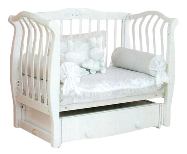Кровать детская Красная Звезда Аэлита С 888 резьба с инкрустацией стразами № 10 Белый