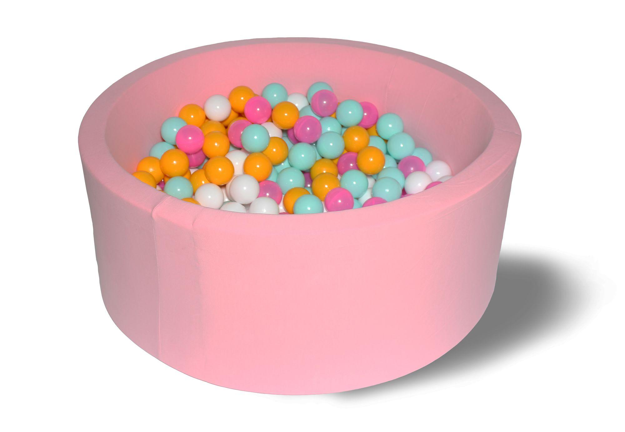 Купить Сухой игровой бассейн Розовый цветок 40см с 200 шариками: розовый, белый, желтый, мятный, Hotenok,