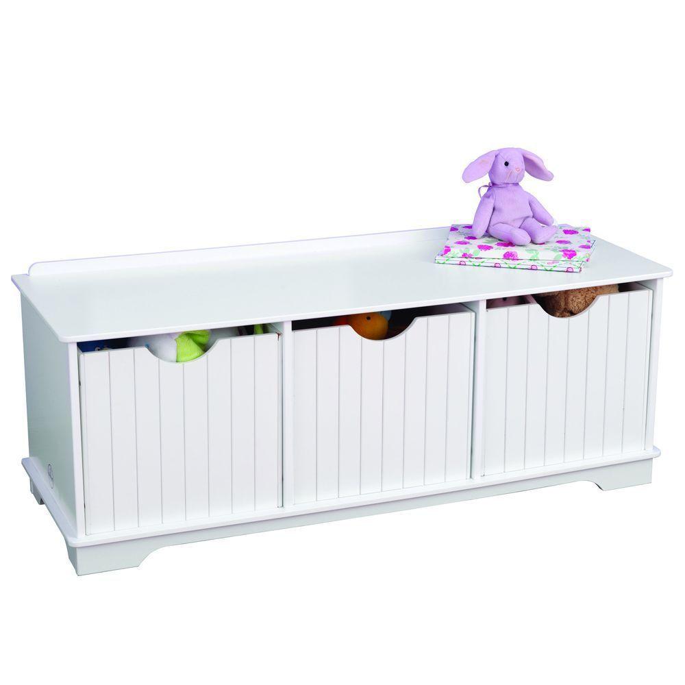 Купить Скамья с ящичками для хранения Белая KidKraft 14564_KE, Ящики для хранения игрушек