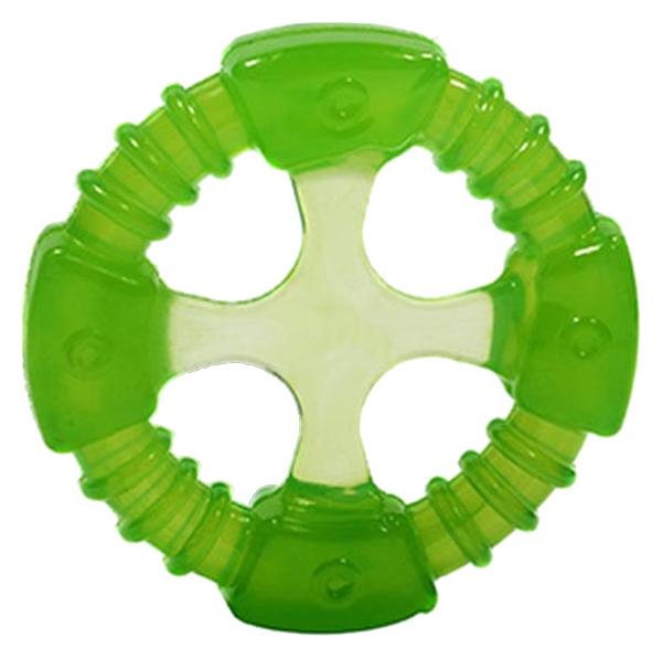 Жевательная игрушка для собак DOGLIKE Кольцо Космос с этикеткой, зеленый, 10.4 см