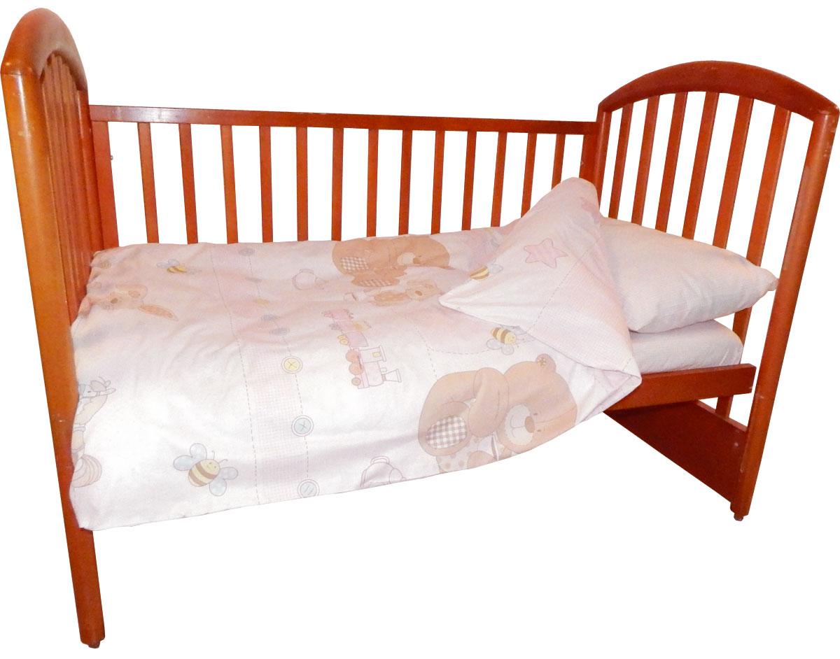 Детское постельное белье Папитто 147*112 простыня на резинке Игрушки розовый 6046