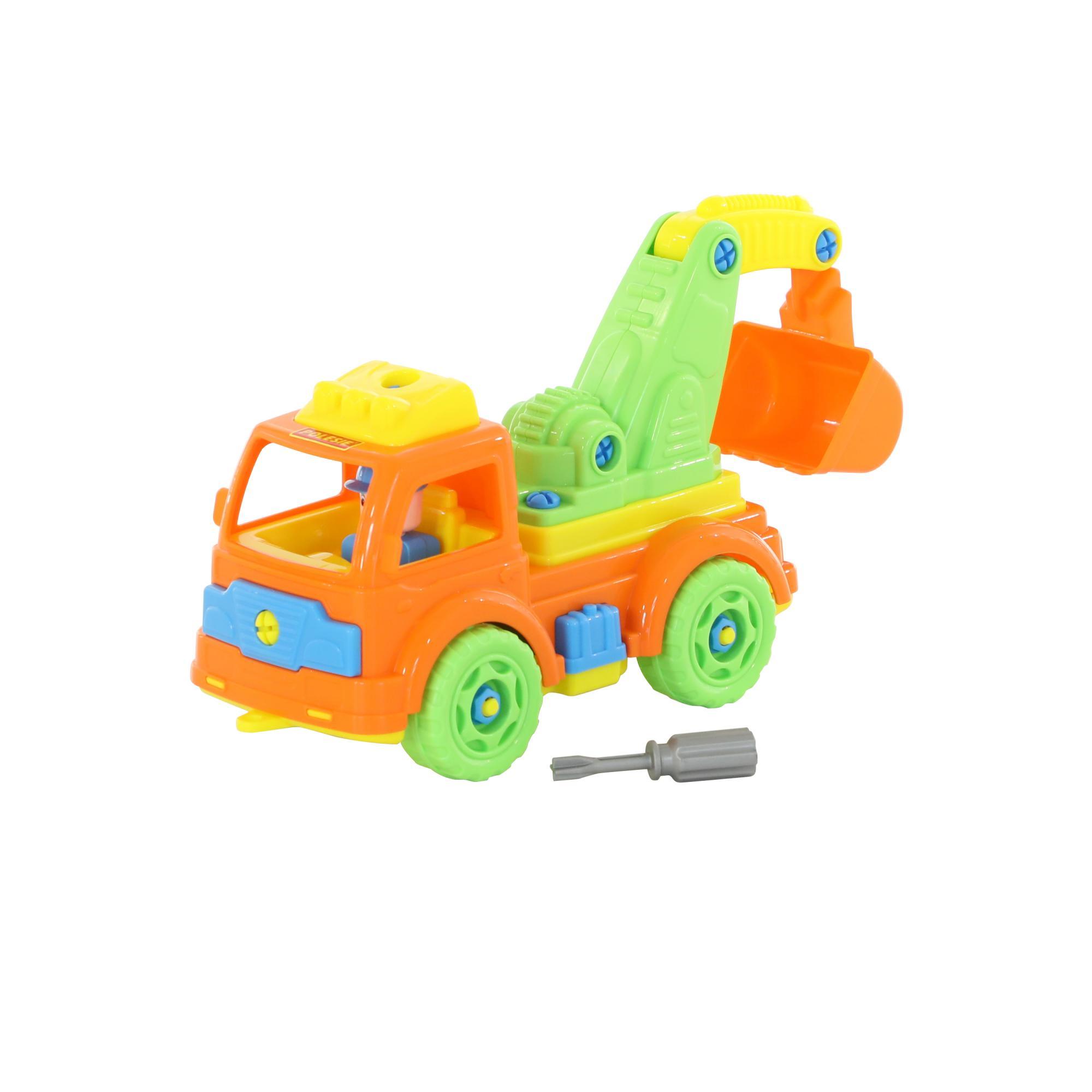 Купить ПОЛЕСЬЕ Конструктор-транспорт Автомобиль-экскаватор (в сеточке) 73044, Полесье, Строительная техника