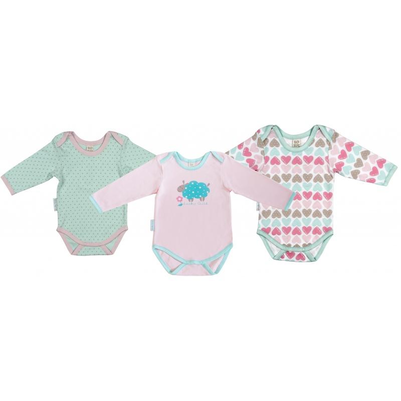 Купить Комплект боди 3 шт Lucky Child Розовый р.86, Боди и песочники для малышей