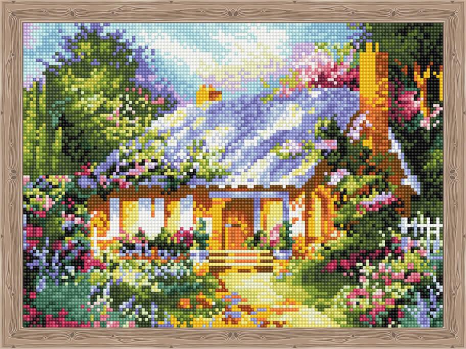 Алмазная живопись Цветной QS200623 «Сказочный дом среди цветов»