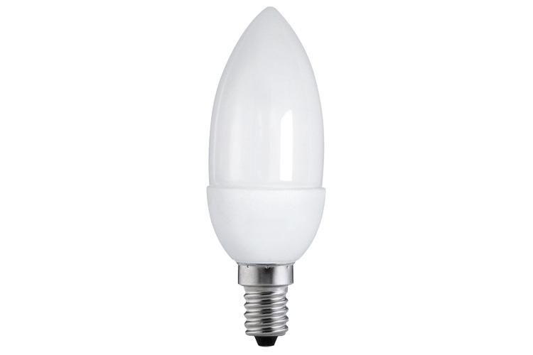 Экономная лампа свеча электроник, опал, E14, 108мм