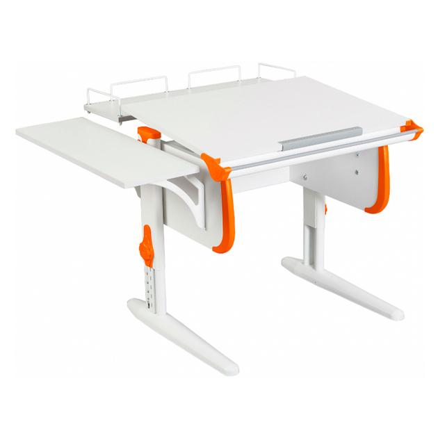 Парта WHITE СТАНДАРТ СУТ-24-02 с задней и боковой приставкой белый, оранжевый, белый,
