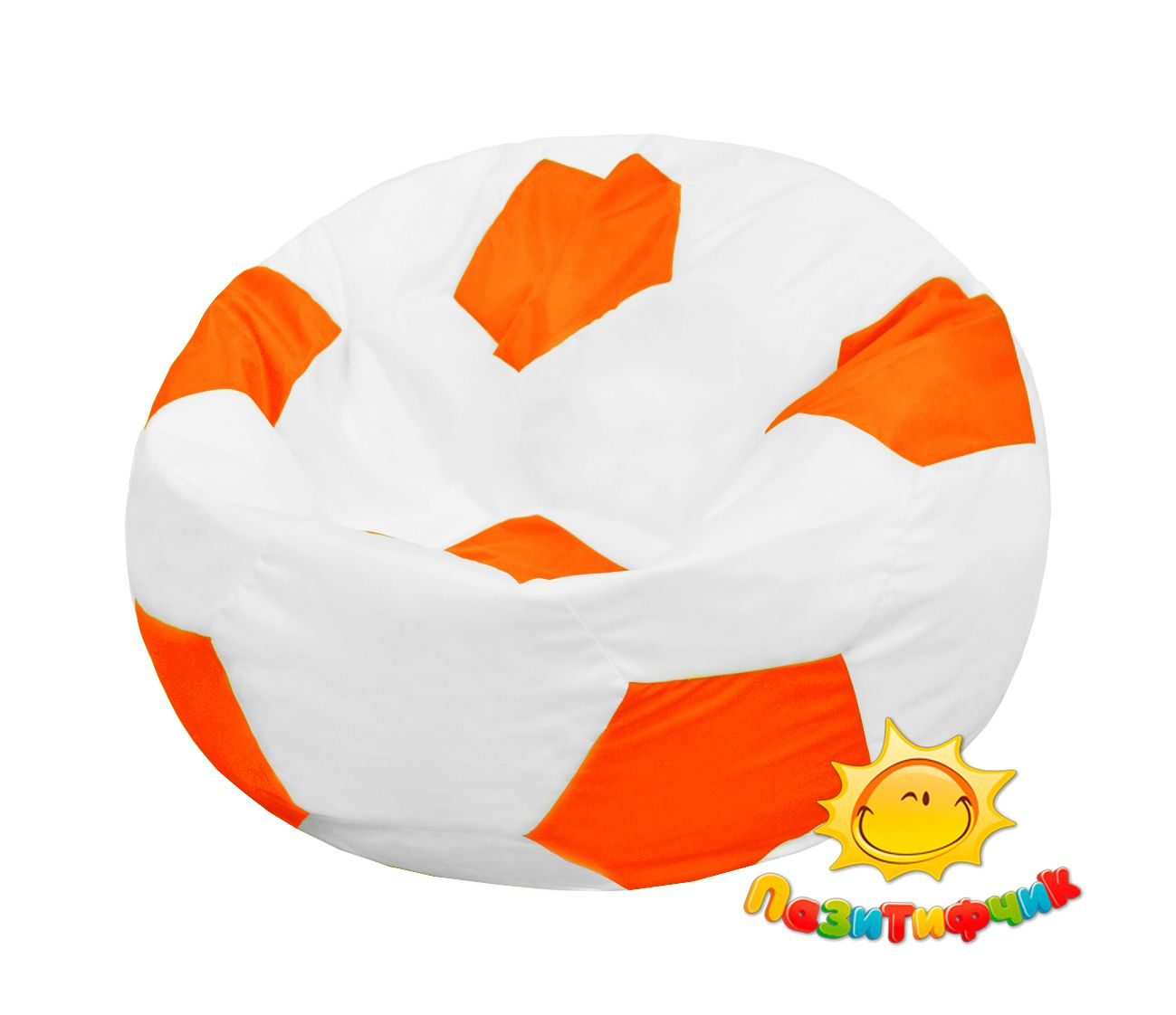 Кресло-мяч Pazitif Мяч Пазитифчик, размер L, оксфорд, бело-оранжевый фото
