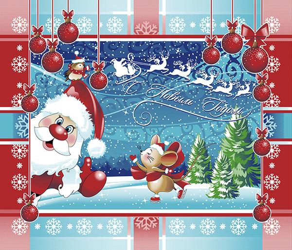 Полотенце вафельное новогоднее