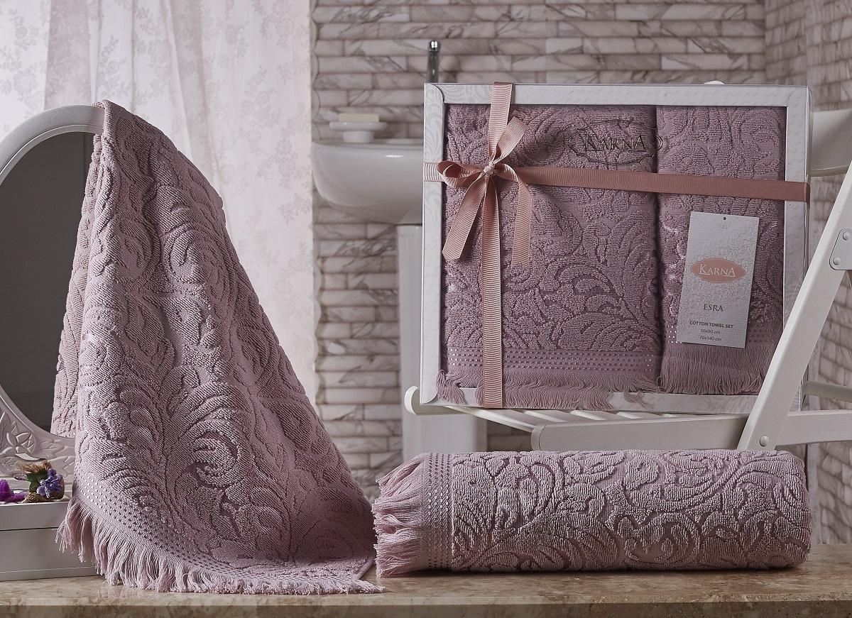 Банное полотенце, полотенце универсальное KARNA розовый