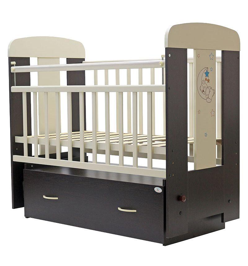 Купить Кроватка Топотушки Верона венге/слоновая кость, маятник поперечный, 120х60, Классические кроватки