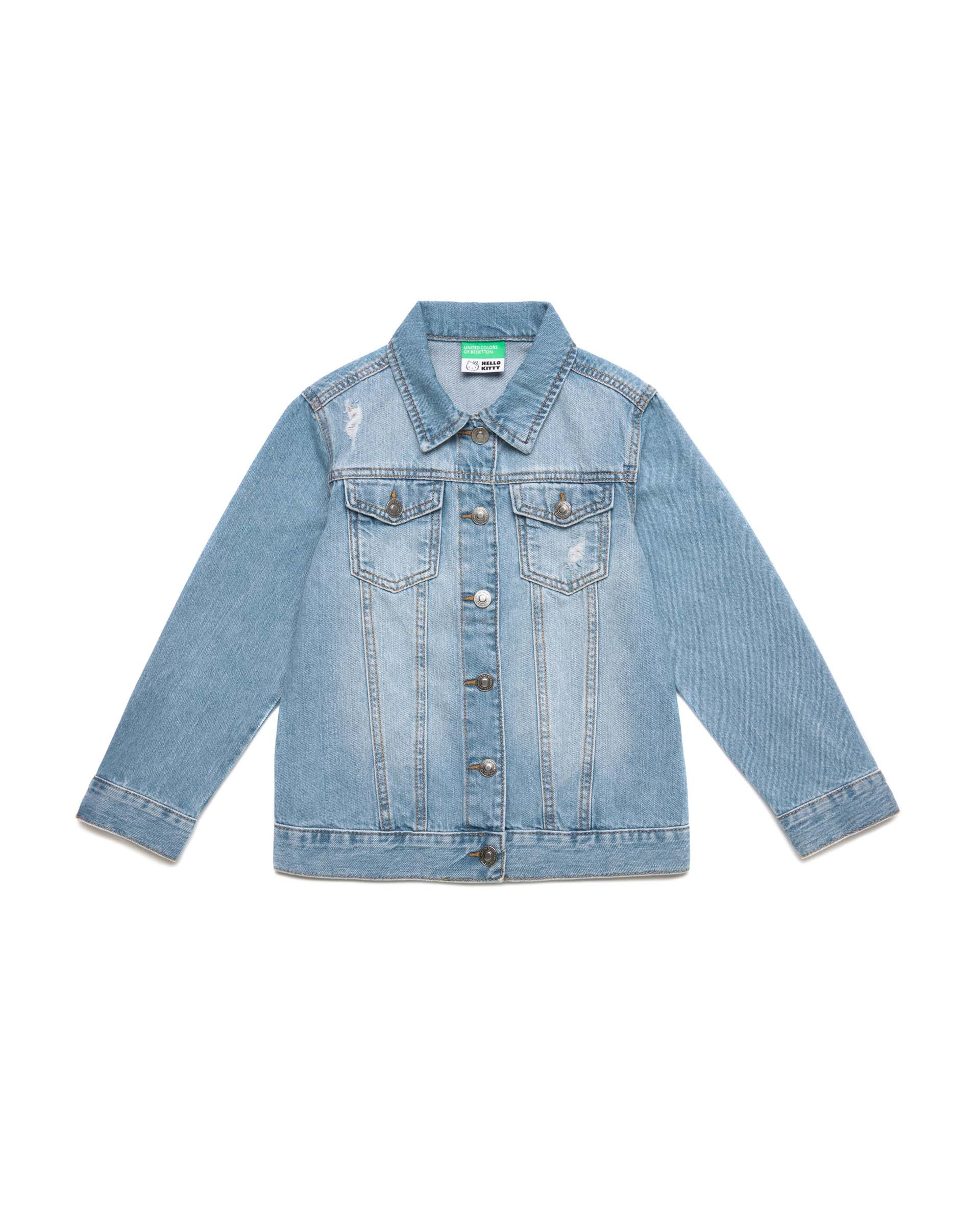 Купить 20P_2DW253IB0_901, Джинсовая куртка для девочек Benetton 2DW253IB0_901 р-р 128, United Colors of Benetton, Куртки для девочек