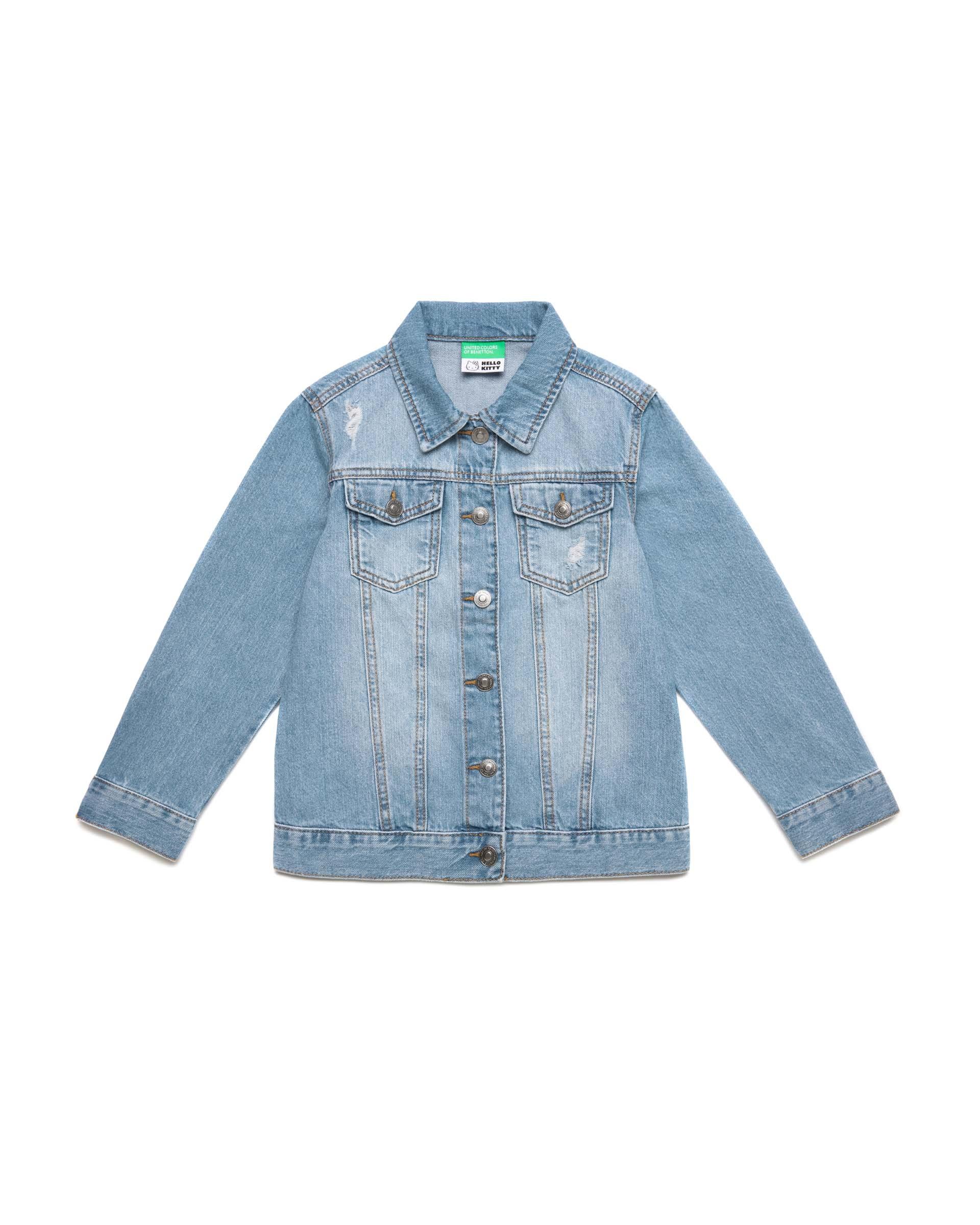 Купить 20P_2DW253IB0_901, Джинсовая куртка для девочек Benetton 2DW253IB0_901 р-р 140, United Colors of Benetton, Куртки для девочек