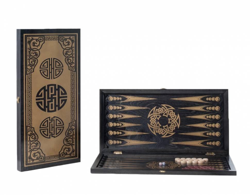 Купить Нарды большие черные, золото Китайский орнамент 151-17, Woodgames,