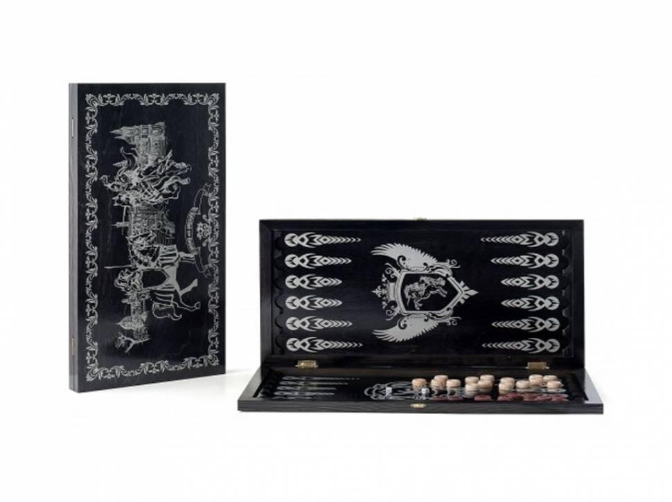 Купить Нарды большие черные, серебро Рыцари 113-15, Woodgames,