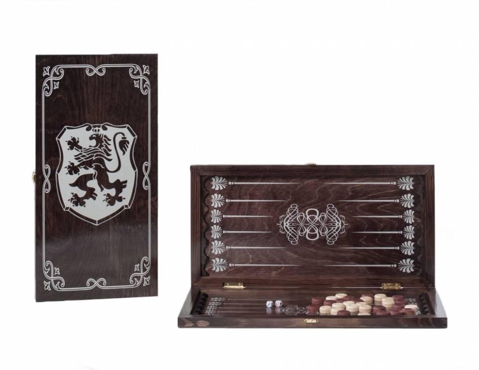 Купить Нарды средние венге, серебро Герб 142-17, Woodgames,