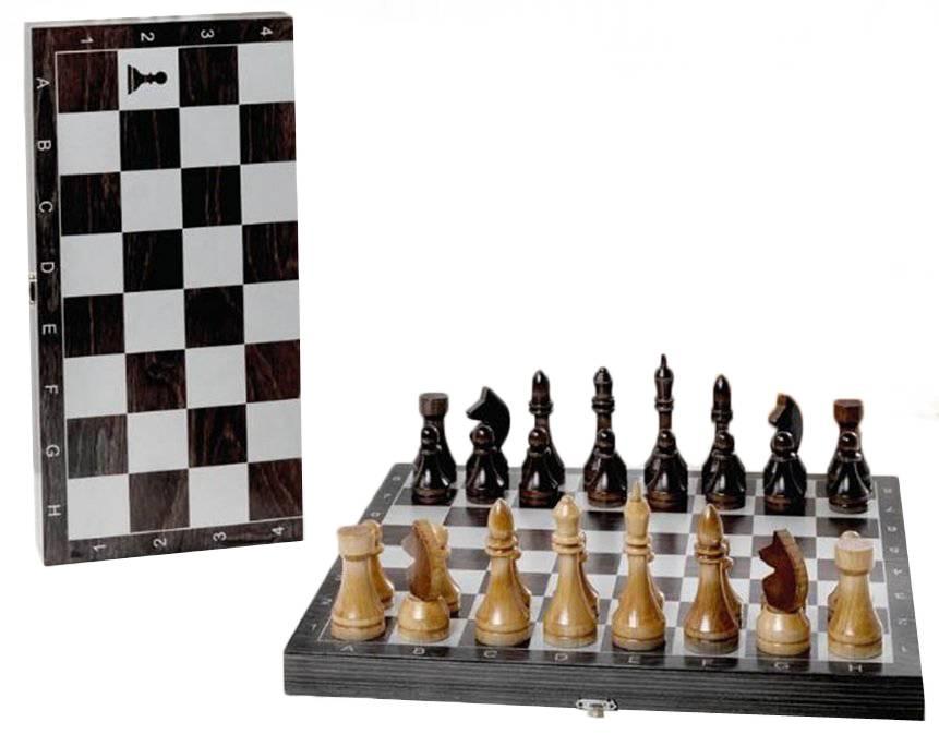 Шахматы гроссмейстерские Woodgames деревянные с черной доской, рисунок серебро 182-18