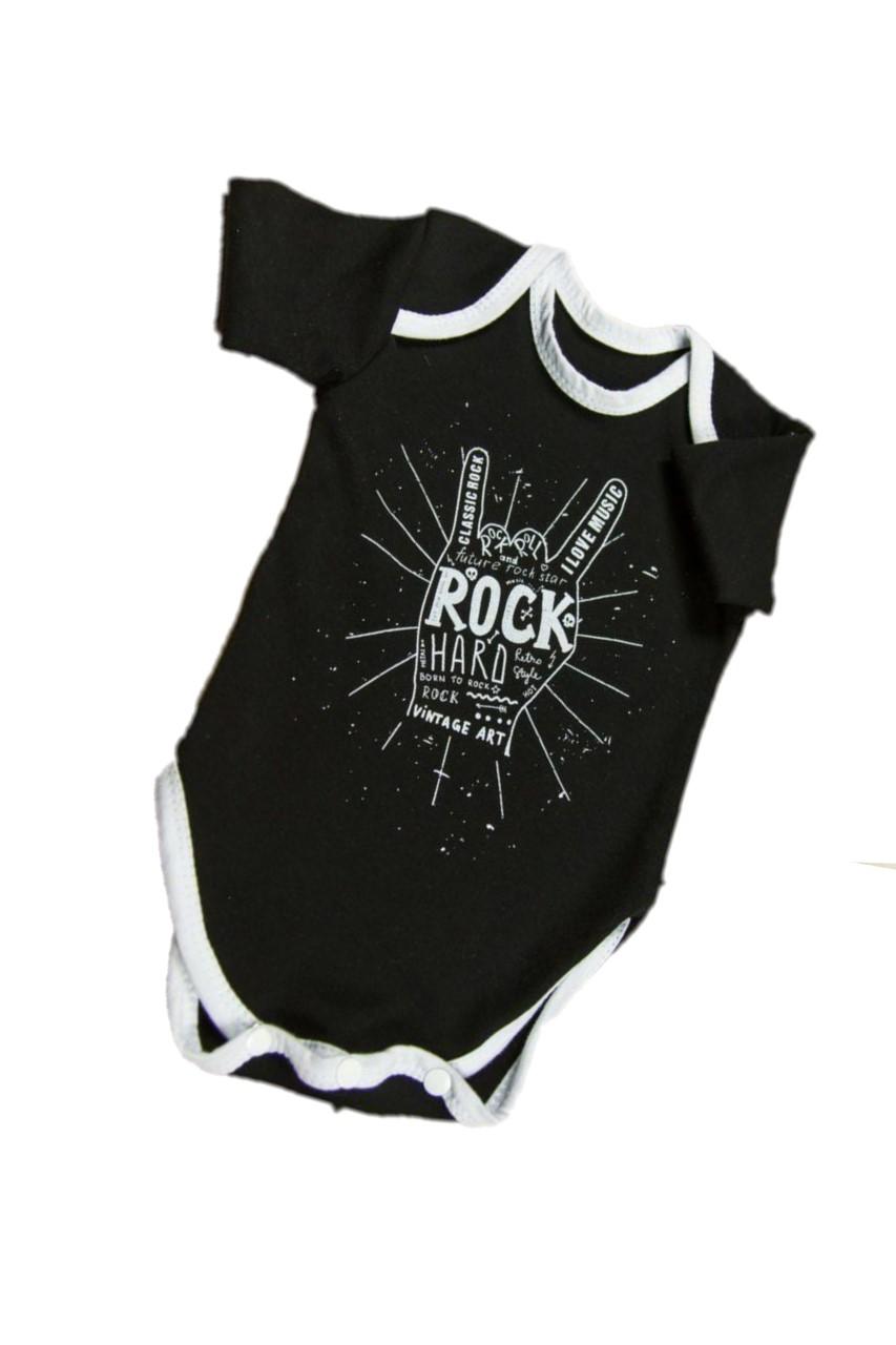 Купить AMARO-ODR102, Боди с коротким рукавом Amarobaby Rock Baby 02 Rock Hard, р. 56, Боди для новорожденных