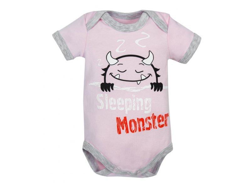 Купить AMARO-ODM1-R0, Боди с коротким рукавом Amarobaby Monsters розовая коллекция, р. 56, Боди для новорожденных