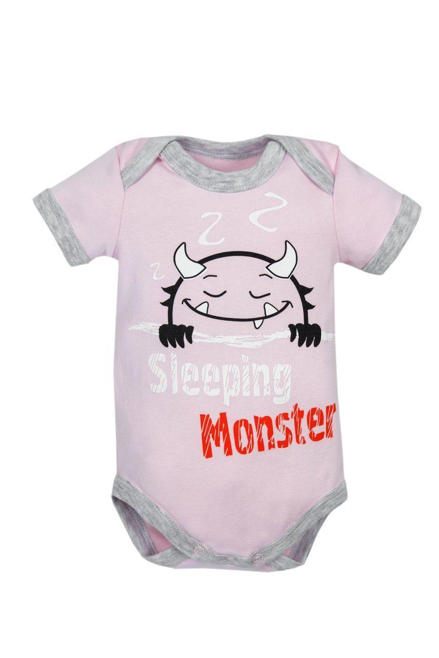 Купить AMARO-ODM1-R0, Боди с коротким рукавом Amarobaby Monsters розовая коллекция, р. 68, Боди для новорожденных