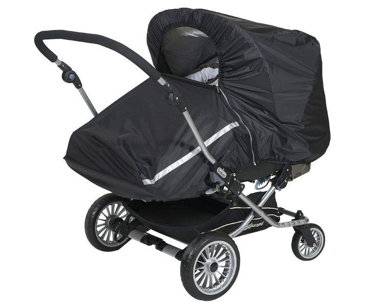 Дождевик для прогулочной коляски двойни Tullsa black